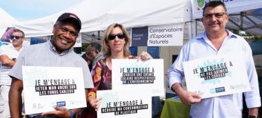 Philippe Germain avec Sylvie Goyet (CPS) et Jules Hmaloko (haut-commissariat)