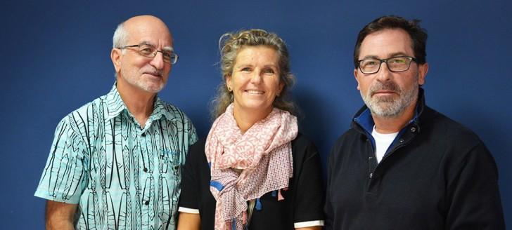 Le président du cluster maritime de Nouvelle-Calédonie, Lluis Bernabé (ici à droite) et ses managers Emma Colombin et Lionel Loubersac